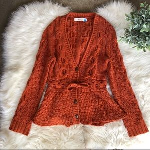 Anthropologie Sparrow Orange Woven Sweater
